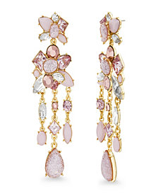 Catherine Malandrino Women's Pink And White Rhinestone Cluster Post Yellow Gold-Tone Chandelier Style Earrings