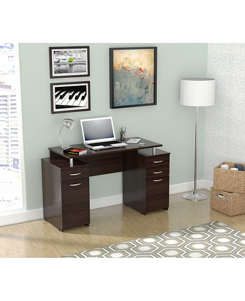 Inval America Computer Desk with Four Drawers