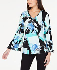 Alfani Printed Ruffle-Trim Top, Created for Macy's