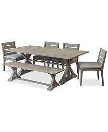 "Hadley Outdoor 6-Pc. Dining Set (84"" x 42"" Dining Farm Table, 4 Dining Chairs & 1 Bench) with Sunbrella® Cushions, Created For Macy's"