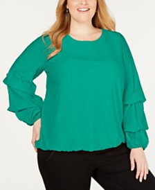 Alfani Plus Size Knit-Texture Bubble-Sleeve Top, Created for Macy's