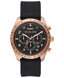 Michael Kors Men's Chronograph Keaton Black Silicone Strap Watch 43mm