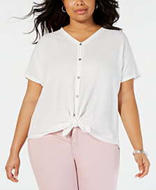 Style & Co Plus Size Button Up Top, Created for Macy's