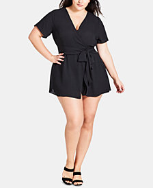 City Chic Trendy Plus Size Sweet Tie Romper
