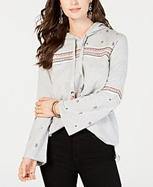 Style & Co Embroidered Cotton Pullover Hoodie, Created for Macy's
