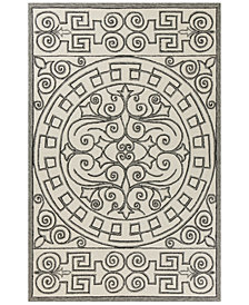 "KAS Harbor Irongate 4246 Ivory/Grey 7'6"" Indoor/Outdoor Round Area Rug"