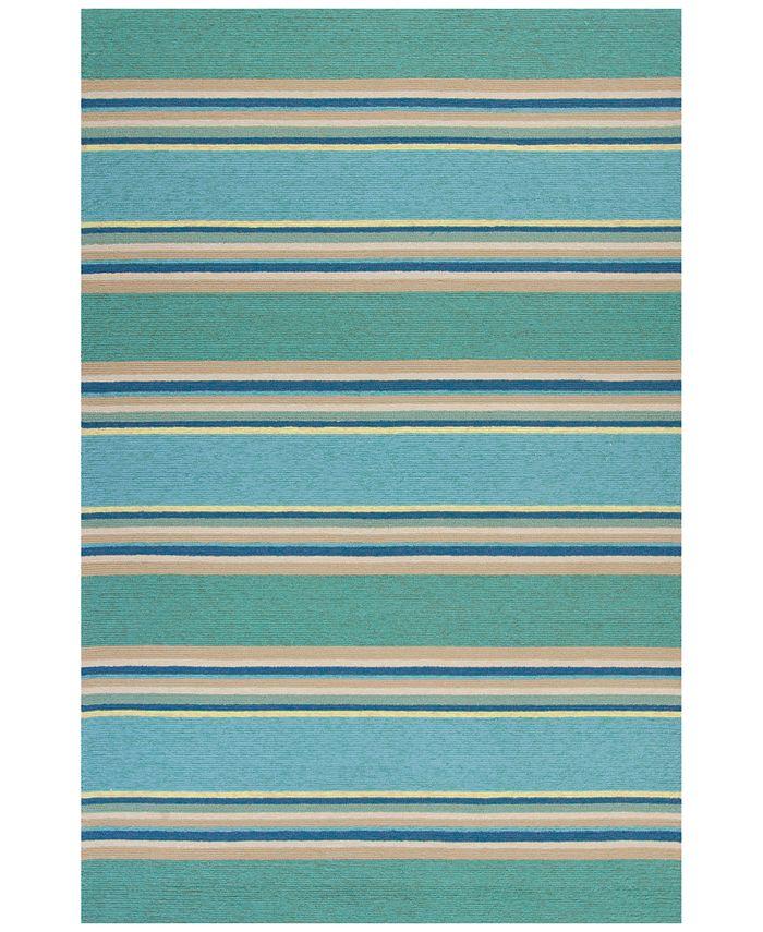 """Kas - Harbor Stripes 4230 Ocean 7'6"""" x 9'6"""" Indoor/Outdoor Area Rug"""