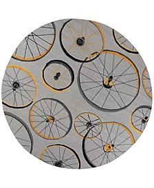 """Sonesta Wheels In Motion 2035 Gray 7'6"""" Round Area Rug"""