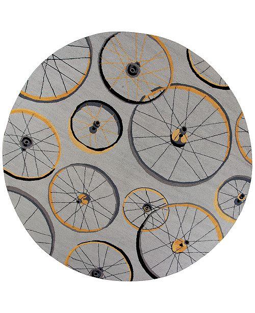 """Kas Sonesta Wheels In Motion 2035 Gray 7'6"""" Round Area Rug"""