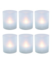 Lumabase Set of 6 Flickering Warm White LED Lights in Frosted Votive Holders Cups