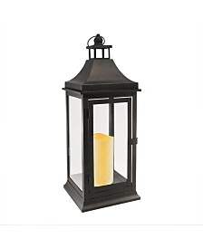 Lumabase Matte Black Tall Classic Metal Lantern with LED Candle