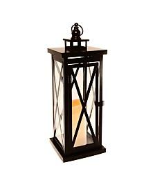 Lumabase Warm Black Criss Cross Metal Lantern with LED Candle