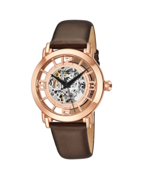 Stuhrling Original Stainless Steel Rose Tone Case on White Satin Twill Covered Genuine Leather Strap, Rose Tone Dial, With Black Accents