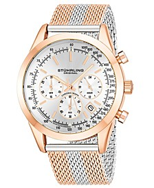 Original Men's Quartz Chronograph Date Watch, Rose Tone Alloy Case, Silver Dial, Rose and Silver Tone Stainless Steel Mesh Bracelet