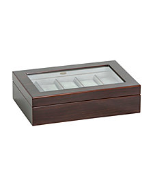 Mele & Co. Hudson Glass Top Wooden Watch Box