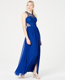 City Studios Juniors' Embellished Illusion Tulip Gown, Created for Macy's