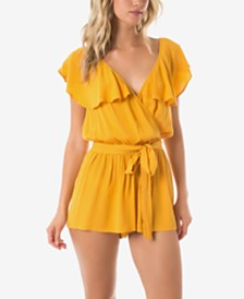 O'Neill Juniors' Ruffled Romper Cover-Up