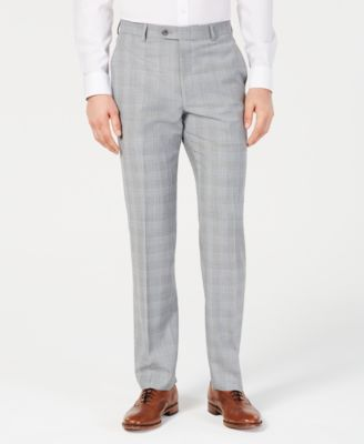 Men's Classic-Fit Light Gray/Light Blue Plaid Suit Pants