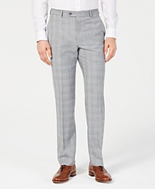 Men's Classic-Fit Light Gray/Light Blue Plaid Suit Pants