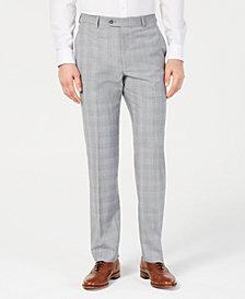 Michael Kors Men's Classic-Fit Light Gray/Light Blue Plaid Suit Pants