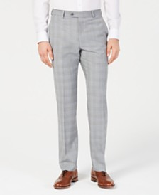 Michael Kors Men's Classic-Fit Light Gray/Light Blue Plaid Suit Pants