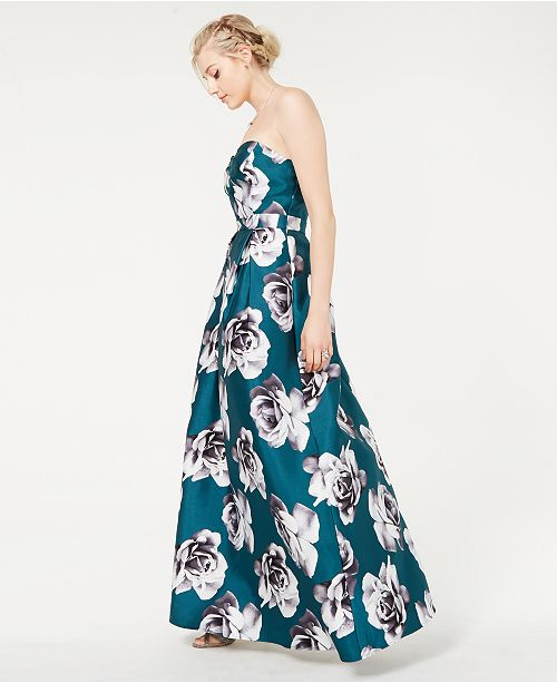 b2b0c78db3c0 Speechless Juniors' Floral-Print Strapless Gown & Reviews - Dresses ...