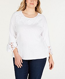 Plus Size Cotton Lace-Trim Top, Created for Macy's