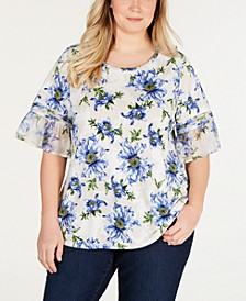 Plus Size Ruffle-Sleeve Floral-Print Top, Created for Macy's