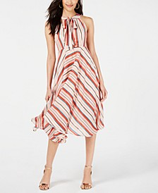 Tie-Neck Striped Midi Dress