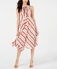 foxiedox Tie-Neck Striped Midi Dress