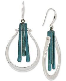 Robert Lee Morris Soho Silver-Tone Blue Patina Stick Sculptural Drop Earrings