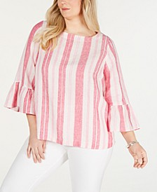 Plus Size Linen Striped Top, Created for Macy's