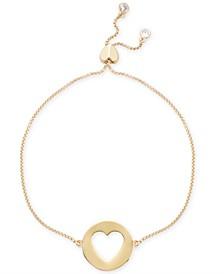 Gold-Tone Heart Pendant Slider Bracelet