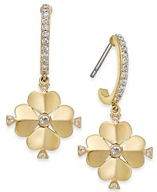 kate spade new york Gold-Tone Crystal Spade Flower Huggie Small Drop Earrings