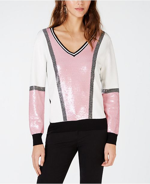 INC International Concepts I.N.C. Sequin Colorblock Sweater, Created for Macy's