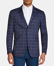 Men's Slim-Fit Stretch Floral Knit Blazer