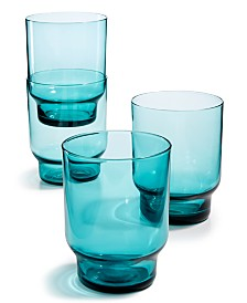 The Cellar Teal Stackable Glasses, Set of 4, Created for Macy's