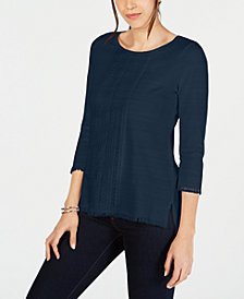 Charter Club Petite Cotton Lace-Trim Top, Created for Macy's
