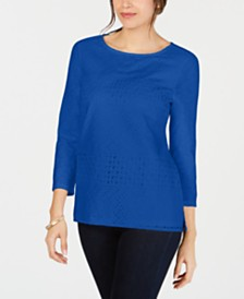 Charter Club Cotton Eyelet Lace Top, Created for Macy's