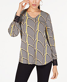 Alfani Petite Printed Striped-Cuff Top, Created for Macy's