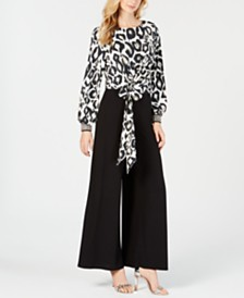 MSK Rhinestone Animal-Print & Solid Jumpsuit