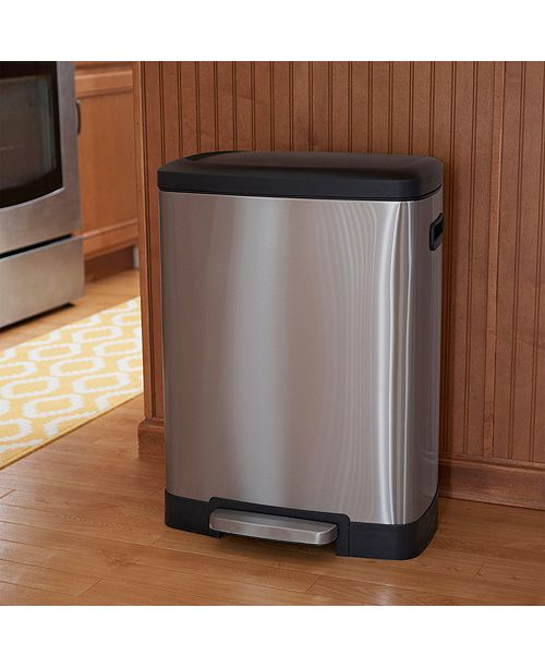 Household Essentials Stainless Steel 50L Summit Rectangle Step Trash Bin
