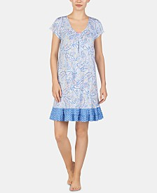 Ellen Tracy Printed Ruffled Hem Knit Chemise Nightgown
