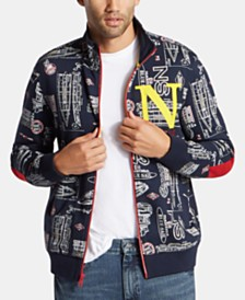 Nautica Men's Big & Tall Blue Sail Printed Track Jacket, Created for Macy's