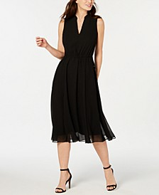 Chiffon Drawstring-Waist Dress