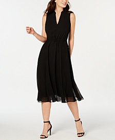 Anne Klein Chiffon Drawstring-Waist Dress