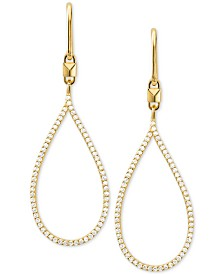 Michael Kors Sterling Silver Pavé Tear-Shape Drop Earrings