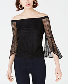 Bar III Lace Off-The-Shoulder Top, Created for Macy's