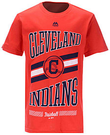 Majestic Cleveland Indians Oversized Logo T-Shirt, Big Boys (8-20)
