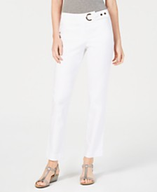 JM Collection Petite Tummy-Control Straight-Leg Pants, Created for Macy's